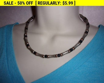 vintage bead choker necklace, hippie jewelry