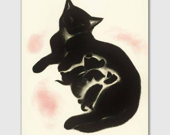 "Cat Art Print, Wall Decor (Vintage Illustration Drawing, Cat Mom) --- ""Sheba's Kittens"""