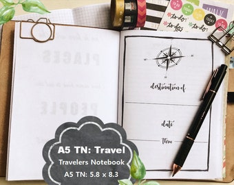 A5 TN Insert, A5 TN Vacation Planner Printable, Travelers Notebook,  Holiday Planner, Vacation Planner,  Instant Download