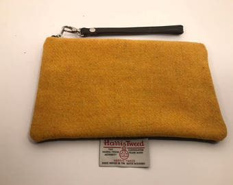 Mustard Harris Tweed and Leather Clutch bag, gifts for her, personalised clutch, Mother's Day gift, perfect grab & go bag