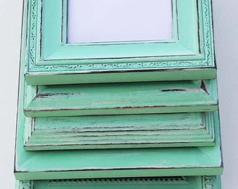 Mint Green Frame Set of Four Hand Painted Distressed Frames Made to Order
