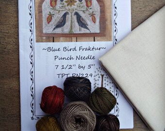 Punch Needle Kit Valdani Threads Weavers Cloth PN229 Blue Bird Fraktur Pattern