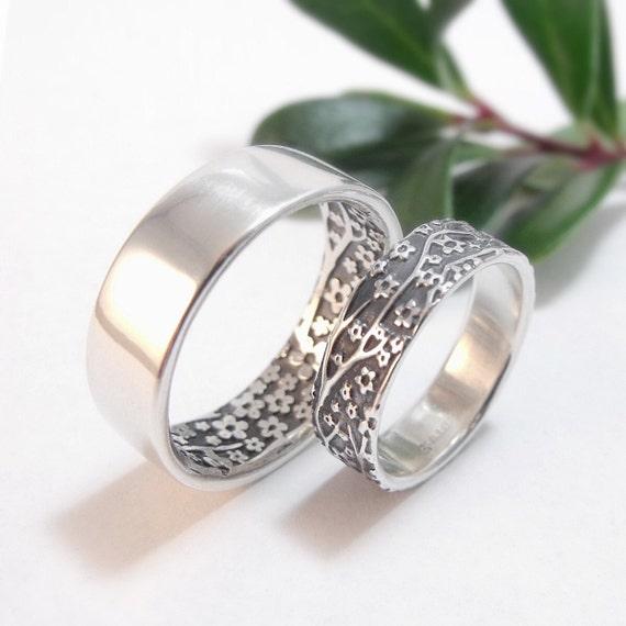 Womens Wedding Ring Set Womens Wedding Band Set Cherry Blossom Silver Wedding  Band Sterling Silver Mens Wedding Band Womens Wedding Ring