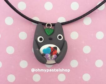 Totoro necklace - spring ladybug butterfly   My neighbor Totoro, Studio Ghibli, Cute charm, kawaii, Polymer Clay jewelry