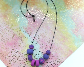 Plum and Ultraviolet Beaded Clay Necklace