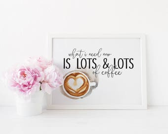 Gilmore Girls - beaucoup, beaucoup de café impression - typographie Print - 8 x 10