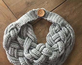 double layer braided cowl with wooden button