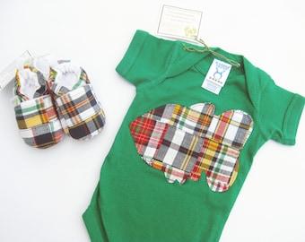 SALE XS Newborn Plaid Patchwork Fish - Applique Bodysuit -Shoes - Baby Gift Ready to Ship