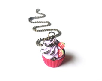 Cupcake Necklace Polymer Clay Food ( cupcake jewelry cupcake charm strawberry cupcake red  necklace cupcake pendant food jewelry kawaii )