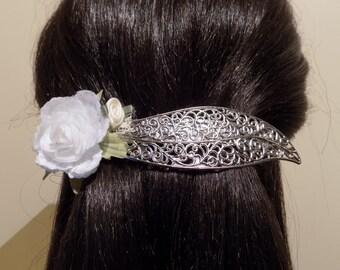 Large Barrette For Thick Hair/ white flower barrette