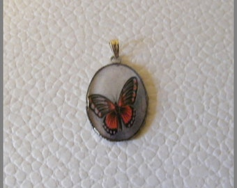 """Oval Pendant with necklace """"Red and black Butterfly"""" - resin Cabochon and metal silver"""