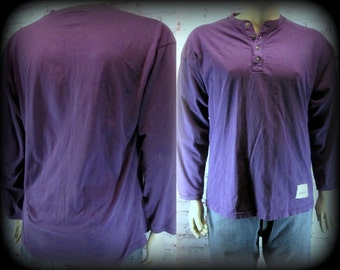 Long sleeve polo shirt, long sleeve t shirt, polo shirt, men's purple shirt,  size M  13/ L   #