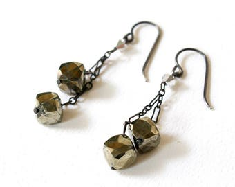 Minimalist Pyrite Dangle Earrings. Faceted Pyrite Silver Earrings  Fools Gold Dangle Earrings