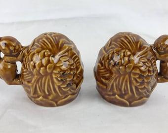 Vintage Ceramic Squirrel Pinecone Salt and Pepper Shakers Set Brown Glazed