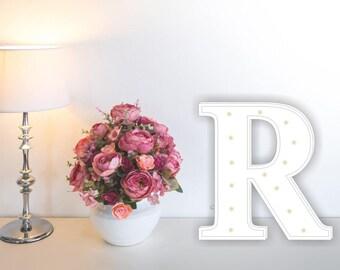Letter lights R Marquee letter R alphabet lights Marquee letters Nursery light Wooden letters Night light Kids lamp  Baby shower Lamp