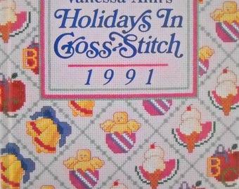 Vanessa-Ann's Holidays In Cross Stitch 1991 Book Vintage 1991 Cross-Stitch Patterns Valentines Day Cross Stitch Patterns