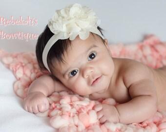 Flower headband, ivory headband, ivory baby headband, flower hair clip, hair bows for girls, wedding headband, shabby flower headband, boho