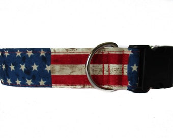 4th of July Dog Collar, Stars and Stripes, American Flag Dog Collar, Wide Dog Collar, Large Dog Collar, Independence Day Dog Collar