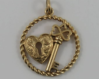 Heart Lock & Key 10K Gold Vintage Charm For Bracelet