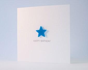 Happy Birthday Card with Blue detachable magnet keepsake