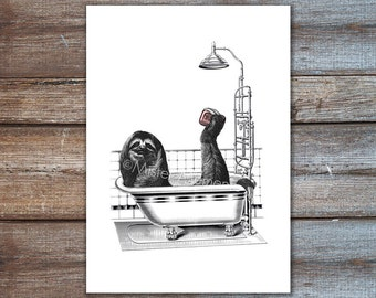 Sloth art, sloth taking a bath, sloth print