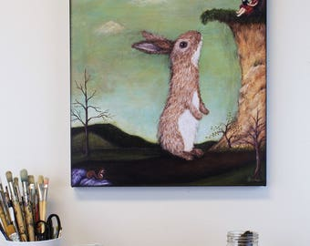 CANVAS PRINT - Beyond the Forest Edge painting - Big wall art print on canvas - 16x20 bunny painting print