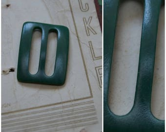 vintage buckle, 1930's / 40's small green plastic buckle, Art Deco style, rectangular slider buckle, craft/sewing supply, dress / belt / hat