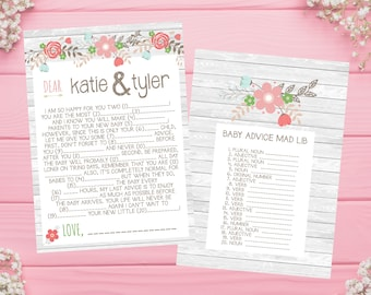 PRINTABLE Mad Lib Advice Game for Baby Shower for both Boys and Girls! Wood, Flowers, Autumn, Critters, Fall