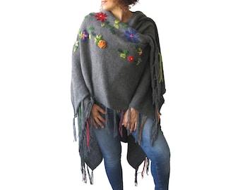 NEW! Dark Gray Pelerine - Poncho with Flowers by AFRA