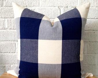 Navy Cream Buffalo Check Pillow Cover