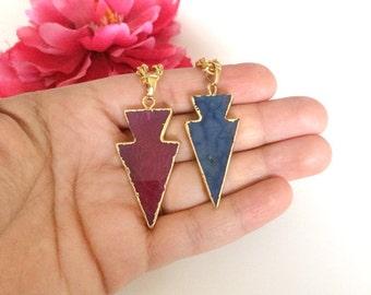 agate arrow pendant - statement necklace - druzy necklace - druzy charm - bohemian chic jewelry