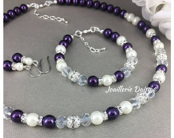 Dark Purple and Ivory Necklace Pearl Jewelry Set Purple Jewelry Bridesmaids Gift for Her Maid of Honor Purple Necklace  Gift