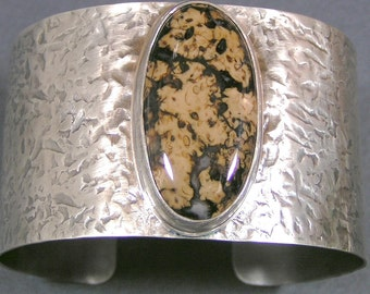 Rare Stefoinite Sterling Silver Cuff Bracelet Black and Brown