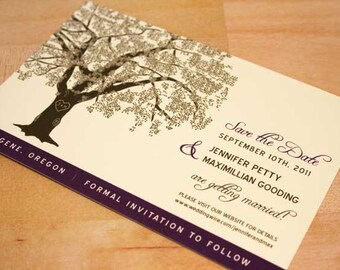 Reserved for Joanne Goldman, Balance of Oak Tree Save the Date Card