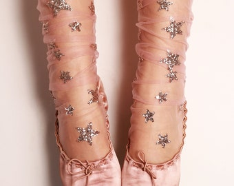 Glitter and Stars Tulle Socks