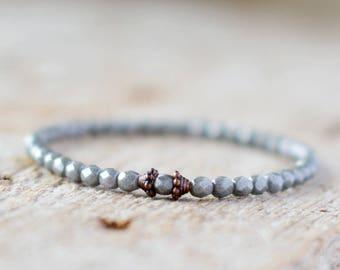 Gray bracelet stretch bracelet gray jewelry bracelet minimalist bracelet gift for her bracelet grey bracelet beaded bracelet handmade