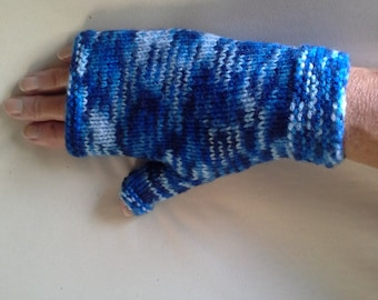 Fingerless Ladies gloves. Various shades of Blues. Snug cosy fit.