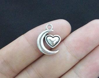 8 Moon Heart Charms, Antique Silver Tone 1A-17