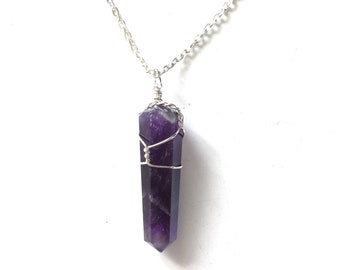 Amethyst pendant with silver plated chain necklace