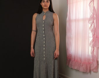 Gingham Sleeveless Long Dress with White Buttons and Cutout - Vintage