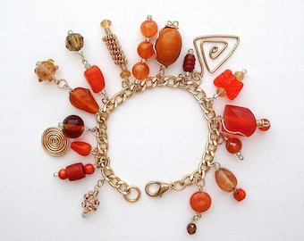 Handcrafted Wirework & Orange Tones Charm Bracelet, orange jewelry, charm bracelet, fall bracelet, fall jewelry, wireworked jewelry