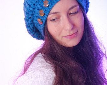 Baggy beanie, Chunky Slouchy Hat, teenage winter loose beanie, turquoise beanie hat, autumn accessories