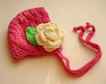 Crochet Baby Hat with Flowers/COMING HOME hat/flower bonnet/flower baby Hat/newborn baby hat/Baby girl Beanie/Newborn Beanie/Newborn Hat