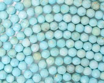 "4mm faceted cream blue turquoise round beads 15.5"" strand 38160"