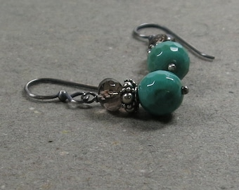 Chrysoprase Earrings Smoky Quartz Mint Green Cocoa Brown Oxidized Sterling Silver