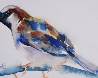 Original watercolor bird robin 3