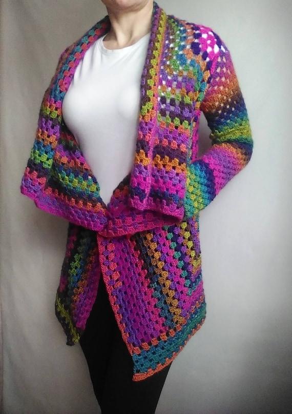 Knit Size Rainbow Clothing Plus CARDIGAN Sweater Women RAINBOW Sweater Hand Hippie Rainbow Oversized Gradient Shawl Sweater Sweater Wool qAwPxFt