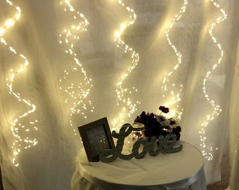 1800 Fairy Lights: Curtain lights with 36 silver strands of light, each with 50 warm white LEDs.  Backdrop for weddings, dances, and events.