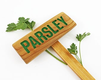 PARSLEY Herb Garden Sign, Painted & Oil Sealed Cedar Wood: Hand Routed, Herb Marker, Plant Signage, Custom Garden Sign, Personalized Marker