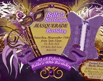 Masquerade Bachelorette Party Invitation, Bachelorette Party, Masquerade Invitations